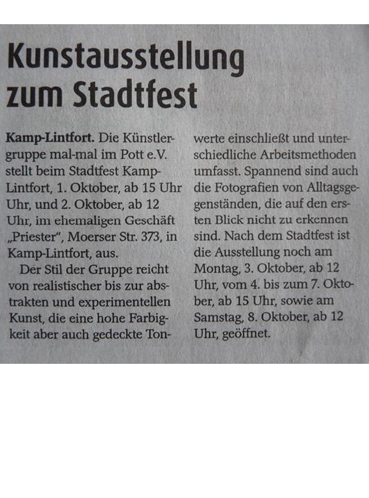 Kunstausstellung Stadtfest Zeitungsartikel