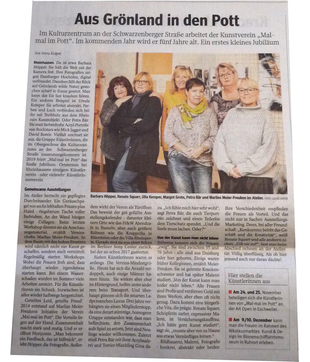 Zeitungsartikel Aus Grönland in den Pott